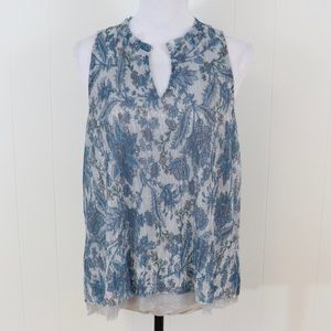 Vanessa Virginia shimmer floral blouse sleeveless